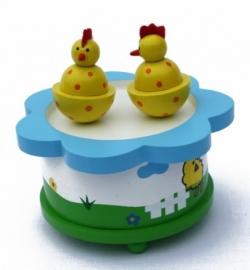 Muziekdoos ~ Dansende kippen