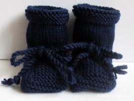 Babyslofjes -Wol Mt 7 t/m 10 cm Donkerblauw