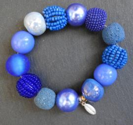 Stephisimo - Armband met Grote Handgemaakte Kralen - Bollywood Blauw (A-ST-2005)