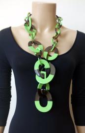 Stephisimo Extra Grote Lange Y-vorm Schakelketting van Afrikaanse Hoorn  - Craft Art Groen (KK-ST-1818)