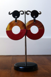 Stephisimo Oorbellen met Grote Ronde Hangers - Craft Art Rood (O-ST-1805)
