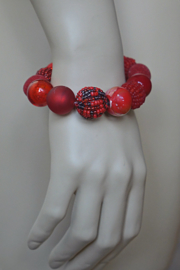 Stephisimo - Armband met Grote Handgemaakte Kralen - Bollywood Bordeaux Rood (A-ST-1701)