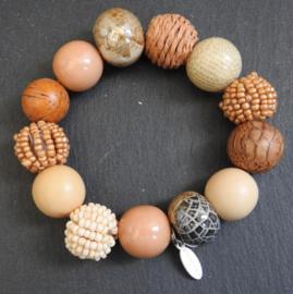 Stephisimo - Armband met Grote Handgemaakte Kralen - Bollywood Beige Bruin Tribal (A-ST-2004)