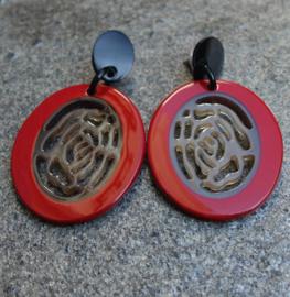 Stephisimo Oorbellen met Grote Ovale Hangers - Craft Art Rood (O-ST-1803)