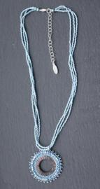 Stephisimo Handgemaakte Ketting met Ronde Hanger - Toho Art Blauw (KK-ST-1901)