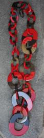 Stephisimo Extra Grote Lange Y-vorm Schakelketting van Afrikaanse Hoorn - Craft Art Rood (KK-ST-1819)
