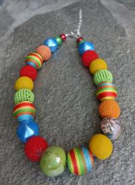 Stephisimo - Korte Ketting met Extra Grote Handgemaakte Kralen - Bollywood Multicolour (KK-ST-1808)