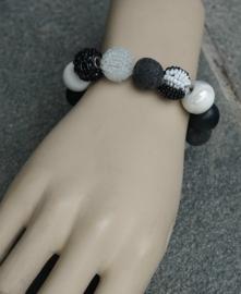 Stephisimo - Armband met Grote Handgemaakte Kralen - Bollywood Zwart Wit (A-ST-1806)