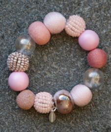Stephisimo - Armband met Grote Handgemaakte Kralen - Bollywood Blossom Roze  (A-ST-1706)
