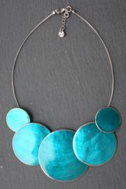 Culture Mix - Grote Handgemaakte Fairtrade Statement Ketting van Schelp - Melanie Turquoise (KK-CM-19)