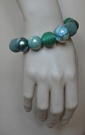 Stephisimo - Armband met Grote Handgemaakte Kralen - Bollywood Evergreen Groen  (A-ST-1703)