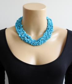 Brede korte steenketting - Turquoise - Nicole Turquoise ( KK-DR-1901)