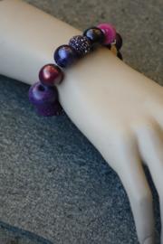 Stephisimo - Armband met Grote Handgemaakte Kralen - Bollywood Petunia Paars  (A-ST-1705)