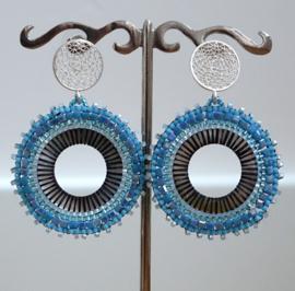 Stephisimo - Handgemaakte Grote Statement Oorbellen - Toho Art - Blauw (O-ST-1901)