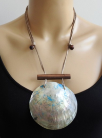 Atoll Palm - Verstelbare Ketting met Extra Grote Schelp Hanger - Andrea Blauw2 (KK-AT-1930)