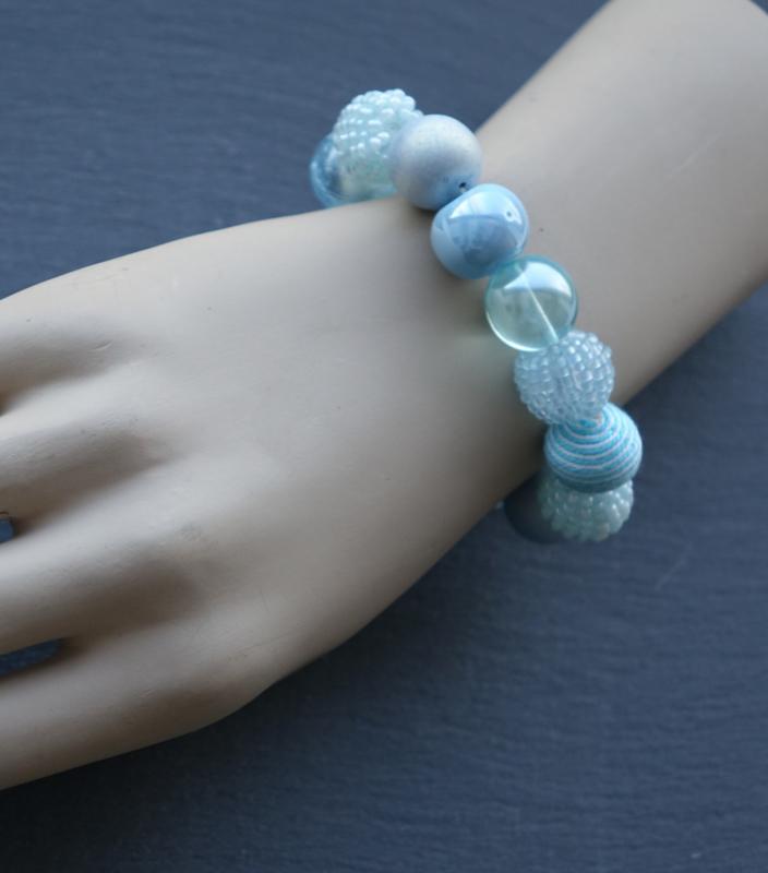 Stephisimo - Armband met Grote Handgemaakte Kralen - Bollywood Riviera Blauw (A-ST-1905)
