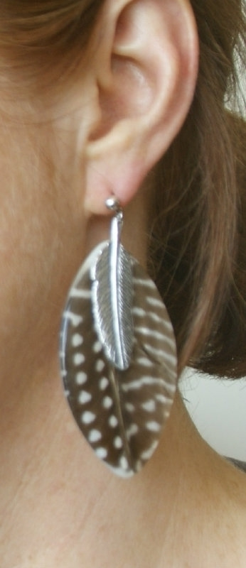 Nature Bijoux Oorbellen Feathers- bruin b (O-NB-37)