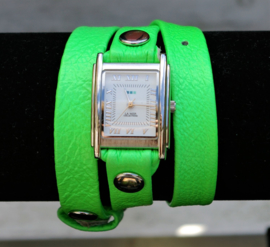 Simple neon green silver wrap horloge