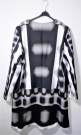 Uniek exemplaar zwart/wit/grijs geblokte jas-46