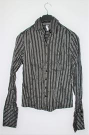 Miss Etam zwart/zilver gestreepte blouse-S