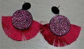 Roze strass met flosjes oorbellen