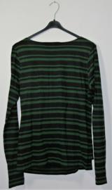 Cora Kemperman zwart/groen gestreept shirt-XL