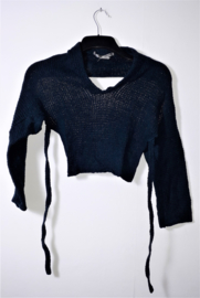 Cora Kemperman blauwe wikkel trui-S