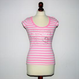 Guga roze-wit gestreept shirt-S