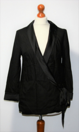 H&M zwarte overslag jas-38/40