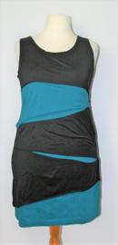 Cora Kemperman zwart/blauwe jurk-XL