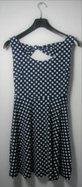 Blauw met witte stippen jurk-S