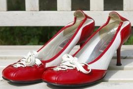 SPNX rood/witte veter pumps
