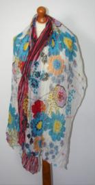 Blauwe bloemen sjaal