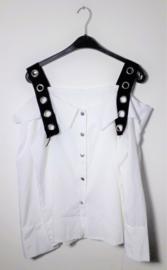 Witte blouse met zwarte banden- XL