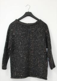 Zwart gemeleerde trui-M