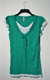 G-Ladies groen/wit shirt-S/M