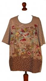 Gerry Weber grijze streep t-shirt bloemen -XXL