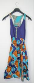Bruin-blauwe jurk-S