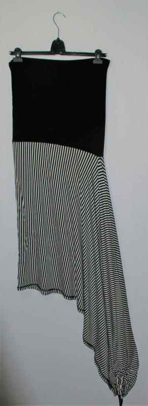 Cora Kemperman zwart/wit gestreepte rok-XL
