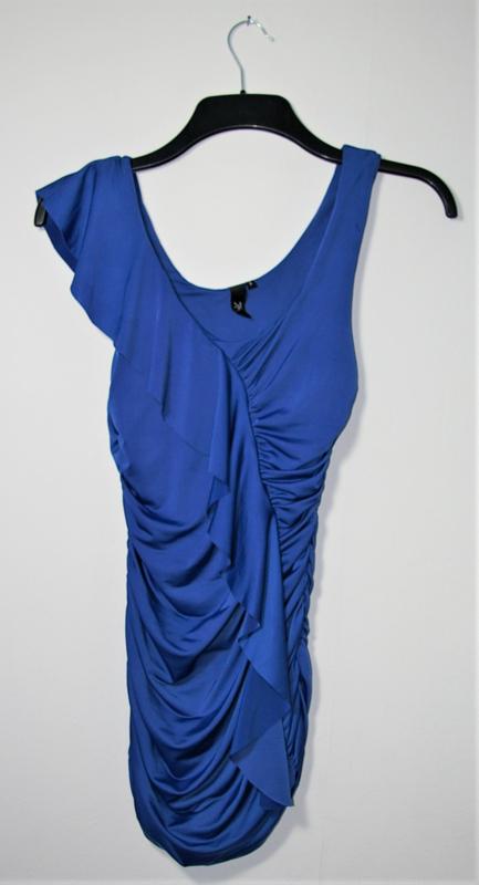 Party blauwe jurk-S