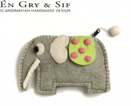 Olifanten portemonneetje grijs