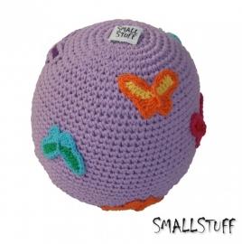 SmallStuff Design. Zachte speelgoedbal met vlindertjes patroon lila