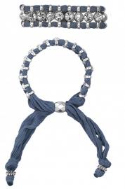 Dubbele stoffen armband met koperen kralen