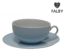 Porseleinen kop en gratis schotel pastel blauw