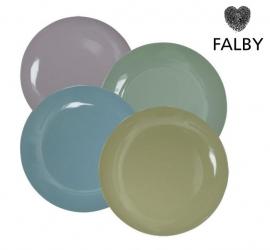4 Porseleinen bordjes in Pastel kleuren