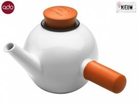 Porseleinen theepot wit/oranje 1 lt