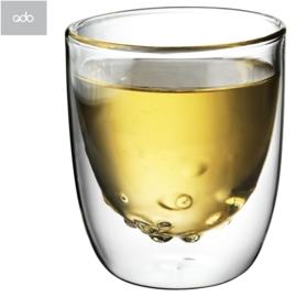 """2 dubbelwandige QDO design theeglazen """"Water"""" 210ml"""