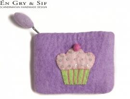 Portemonneetje paars met gebakje
