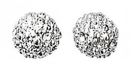 Oorbellen, verzilverde knopjes met kristalletjes