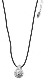 Zwart leren ketting met zilverkleurige druppel